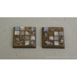 Set of ten 20mm square bases 'Ruined Tiled Floor'
