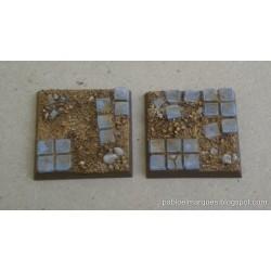 Lote 10 peanas 'Embaldosado en Ruinas' cuadradas 25mm