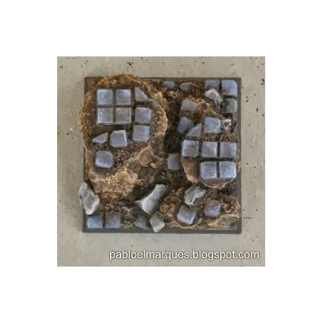Base 'Embaldosado en Ruinas' cuadrada 40mm modelo 2