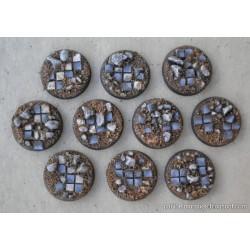 Lote 10 peanas 'Embaldosado en Ruinas' redondas 25mm