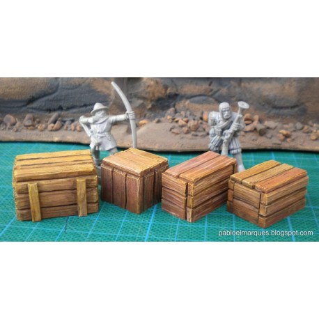 Lote '4 cajas grandes' cajas de mercancias